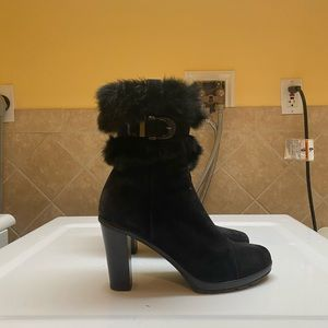Aquatalia Black Heeled Booties with Fur
